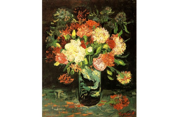"""Vincent van Gogh's """"Vase with Carnations,"""" an oil painted in Paris in the summer of 1886."""