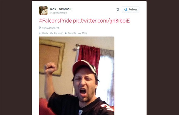 Virginia 7th Congressional District Democratic contender Jack Trammell displaying his Falcons Pride on Twitter in January 2013.