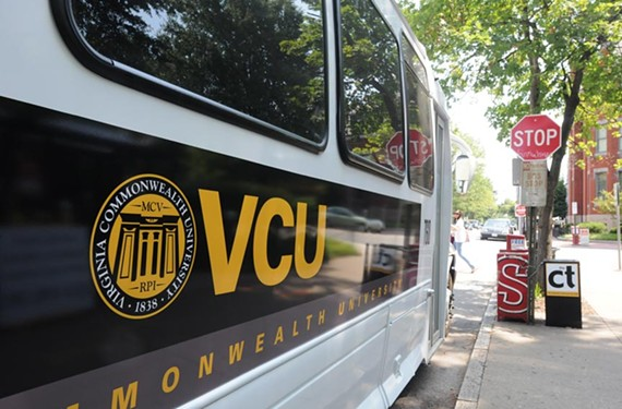 Virginia Commonwealth University's new seal recently began appearing on the school's Campus Connector buses, but a full roll out is expected later this year. - SCOTT ELMQUIST