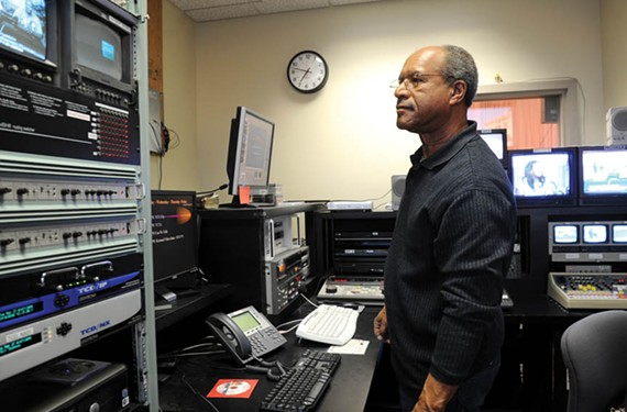 Volunteer Andwele Gardner is frustrated by the limitations of the studio's dated equipment and set. If the station looked better, he says, it could attract fresh shows and more viewers.