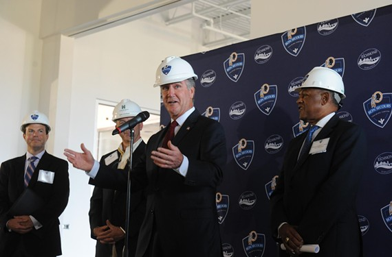 "Washington Redskins General Manager Bruce Allen at last week's hard-hat tour of the team's new training camp facility, which he refers to as a ""field of dreams."" - SCOTT ELMQUIST"