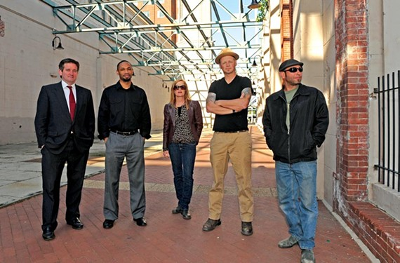 What do you stand for? Jon Baliles, assistant to Richmond's director of planning and development (far left), poses at the Power Plant with RVA Street Art Festival artists Hamilton Glass, Susann Whittier, co-organizer Ed Trask and Tom Brickman. The event will see Richmond transformed into a two-year, citywide art exhibition. - SCOTT ELMQUIST