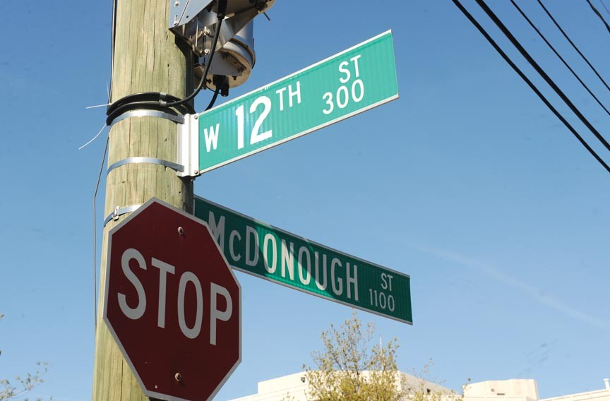 What honor here? The street sign inelegantly affixed to a pole at West 12th and McDonough streets misspells the name of Thomas MacDonough, the War of 1812 hero that the street designation honors. Despite major personal injuries, MacDonough led his crew to a critical victory on Lake Champlain in September 1814. - SCOTT ELMQUIST