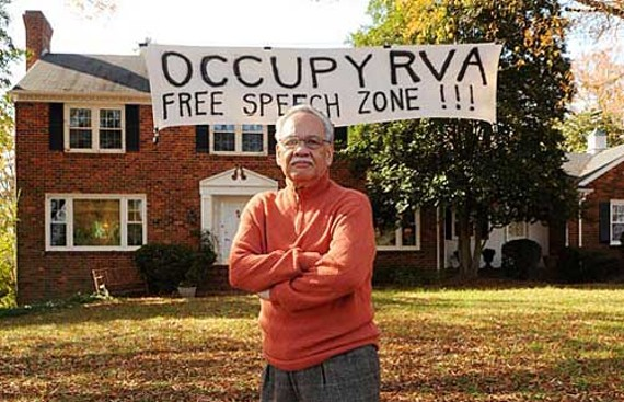 "While he downplays the political significance, Boone's front-yard-turned-free-speech-zone has sent a message to his neighbor, Mayor Dwight Jones: ""I think the mayor needs to review the First Amendment."" - SCOTT ELMQUIST"