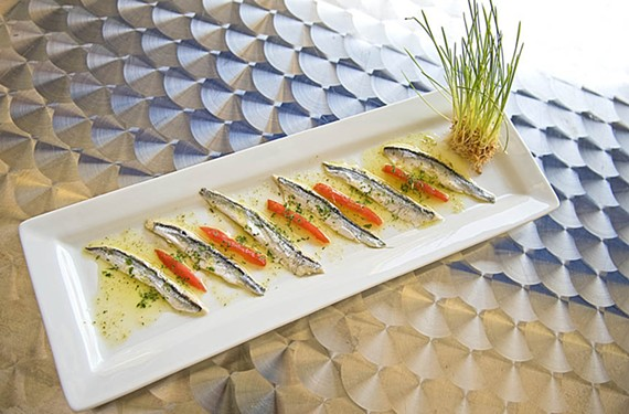 White anchovies dressed with lemon and olive oil are a signature appetizer at a new west end restaurant, the White Anchovie. - ASH DANIEL
