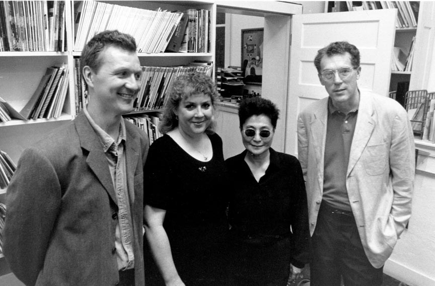 "Yoko Ono arrived at the Anderson in a limousine Oct. 18, 1996, for the opening of her ""Fly"" exhibition. Attention paid to her by first-nighters all but eclipsed other artists whose shows also opened that night including, from left, Cliff Baldwin, Sue Johnson and David E. Thompson. - STEPHEN SALPUKAS"