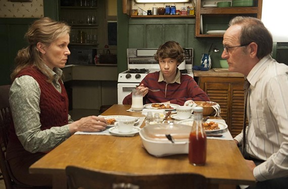 "Young Devin Druid, pictured in a scene from the acclaimed HBO drama miniseries ""Olive Kitteridge"" with acting heavyweights Frances McDormand and Richard Jenkins."
