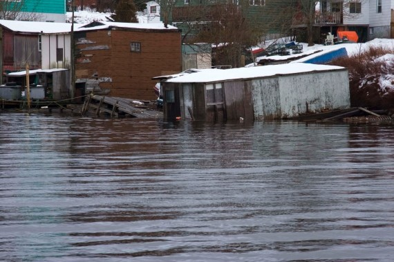 A fish store in Herring Cove fell victim to the January storm. - ROY P. DEMPSEY