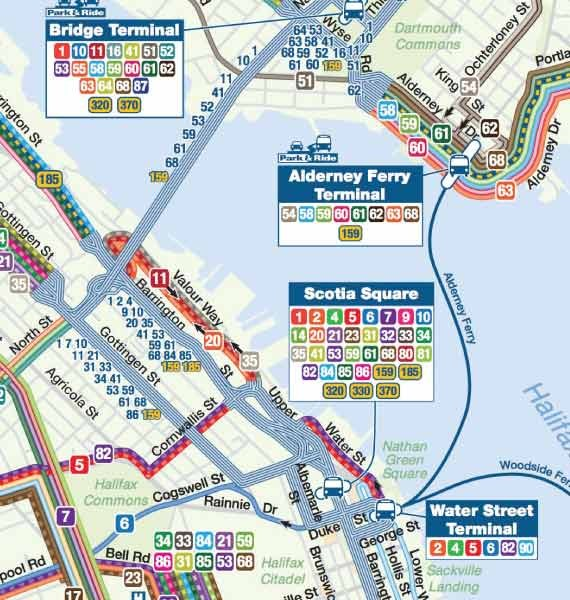 Click To Enlarge A Kaleidoscope Of Colours Run Through Halifax Transits Simplified Route Map Its Pretty But