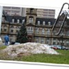 A pile of filthy snow in the middle of Grand Parade Square.