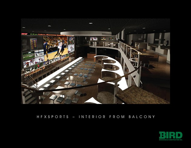 A proposed view from the mezzanine at HFX Sports Bar & Grill