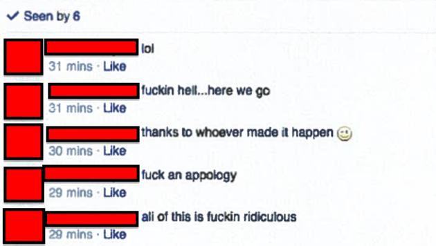 """A screenshot from the Dalhousie DDS Class of 2015 Gentlemen Facebook group. One member has written """"Fuck an apology"""""""