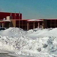 A snow-covered Central Nova Correctional Facility in Burnside.