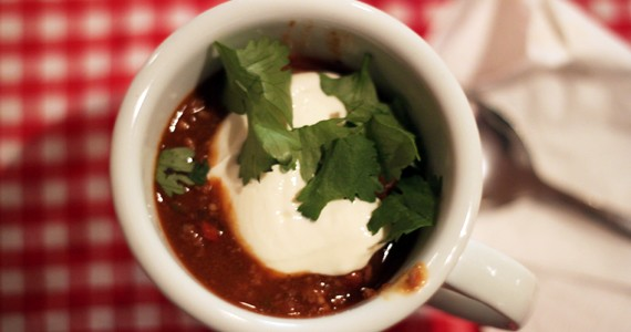 A strong cuppa chili.