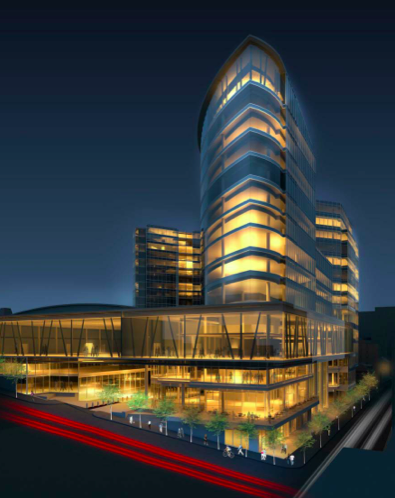 An artist's rendering of the newest design for Nova Centre.