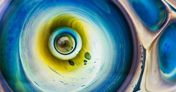 """Angela Creaser exposes intricate curves inside a marble in """"Vortex."""""""