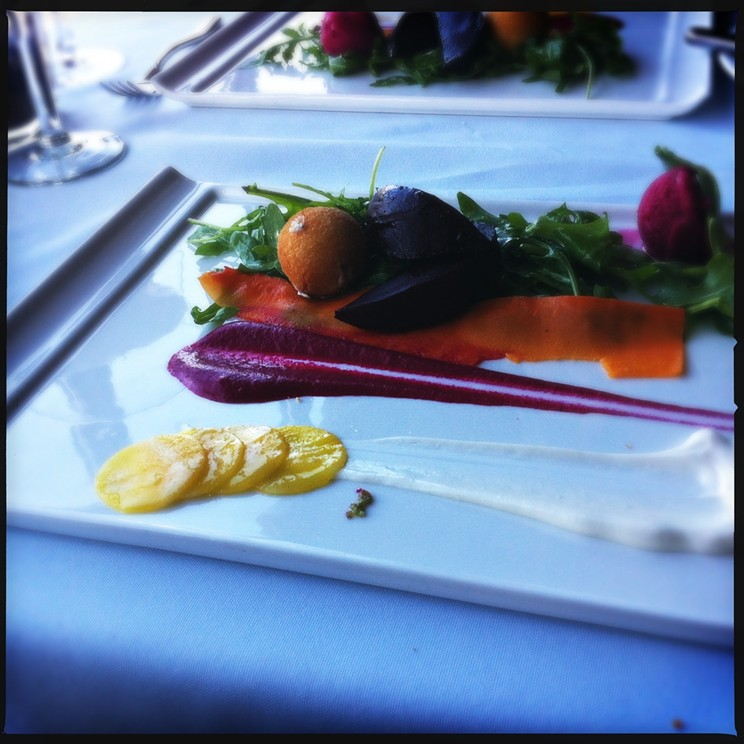 At Seasons the beet salad features three preparations of beets, including an ice creamy version