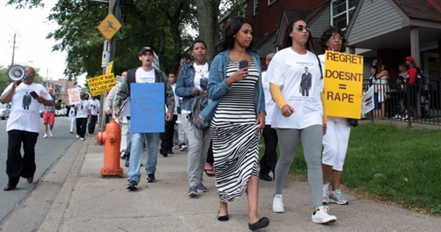 At the June 25 rally in support of Lyle Howe. - HILARY BEAUMONT