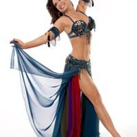 Bellydancer Aziza in bellydance costume.