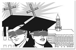 Board almighty Most universities in town have church leaders on their boards.      illustration Moon Hee Nam