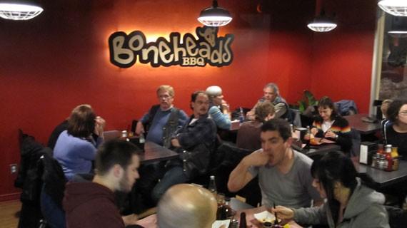 Boneheads BBQ, opening night.