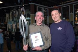 Brew-Off winner Brian Harvey and Garrison head brewer Daniel Girard.