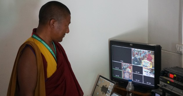 Buddhist monk Geshe Lobzang Samstan oversees the Kalachakra ceremony livestream. - CHRISTOPHER HELLAND