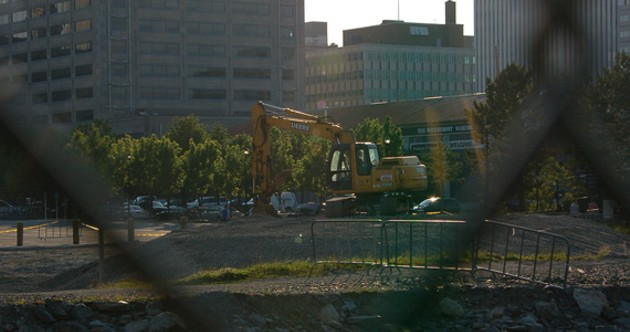 Bulldozers prep the ground for the Jazz Festival's new home base. - LOUKAS CROWTHER
