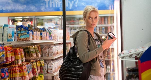 Charlize Theron making one of many bad choices in Young Adult, an awards season film you should see.