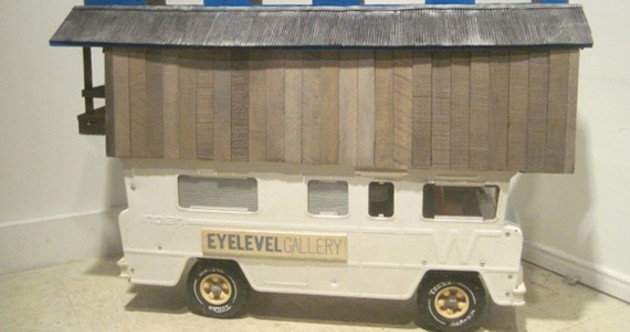 Chris Foster's 'Eyelevel Housebus' sculpture is one of many art pieces up for grabs.