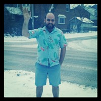 Chris Locke and his appropriate attire