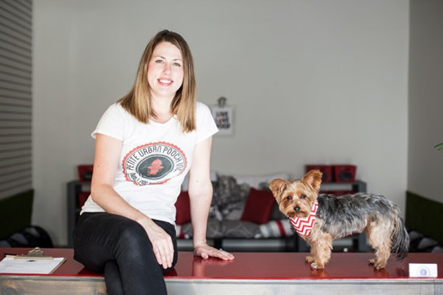 Christine Black and Chester, owners of Petite Urban Pooch small dog daycare. - MEGHAN TANSEY WHITTON