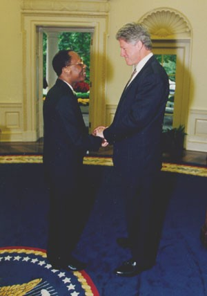 Clinton meets Haitian President Aristide in the Oval Office, Oct. 1994