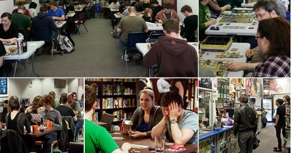 Clockwise from top left: A regularly packed night and people playing games at Games People Play (photo Joseph Allen); checking out the retro wares at The Last Game Store; blowin' a move and perusing the options at Board Game Room (photos Lenny Mullins)