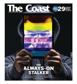 "Coast cover depicting ""The always-on stalker"" feature story that helped earn the CJF's big prize for small media."