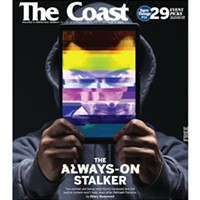 """Coast cover depicting """"The always-on stalker"""" feature story that helped earn the CJF's big prize for small media."""