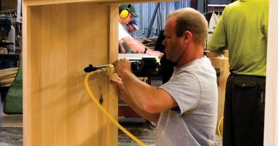 Constructing furniture at LakeCity.