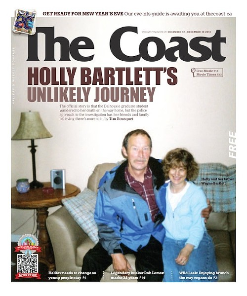 """Cover of The Coast newspaper featuring a photo of Holly Bartlett and her father to accompany the feature story """"Holly Bartlett's unlikely journey."""""""
