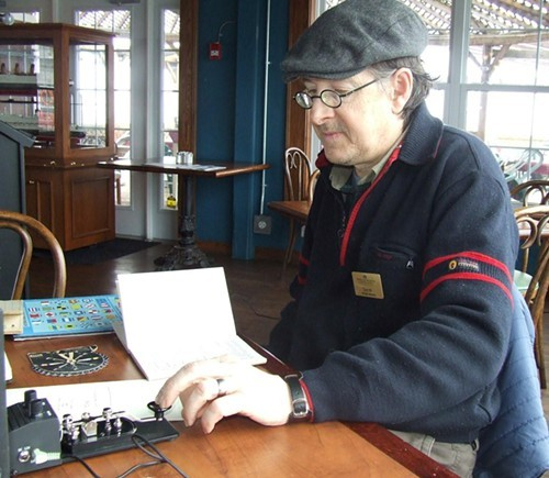 Derek Harrison of Maritime Museum demonstrates Morse Code used on transatlantic cables