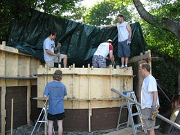 Earth brothers Dal architecture students make a rammed-earth wall.photo Jessica Linzey