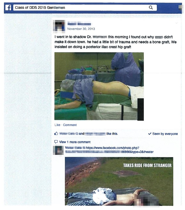 Facebook post with a photo of a patient in an operating room, face obscured but lower back and buttocks exposed.