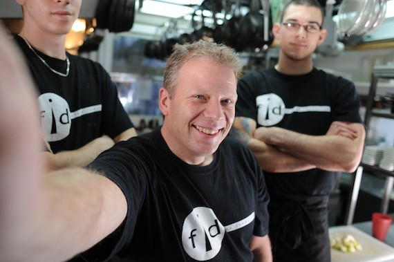 Fid Resto owner/chef Dennis Johnston with staff. - JULÉ MALET-VEALE
