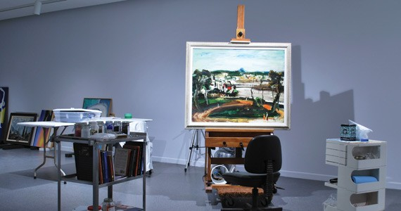 Fine Art Paintings Conservator Elizabeth Jablonski set up a temporary studio in the gallery.
