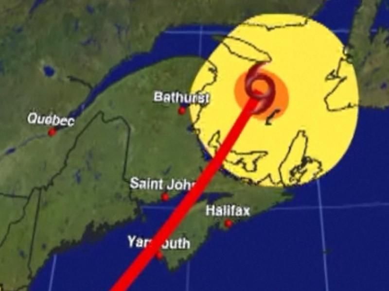Friday night Hurricane Earl tracks between Yarmouth and Saint John.