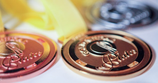 Gold, silver and bronze varnish.