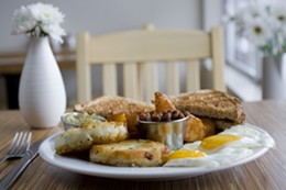 PHOTO: JULÉ MALET VEALE - Great Fishcakes, eggs and beans.