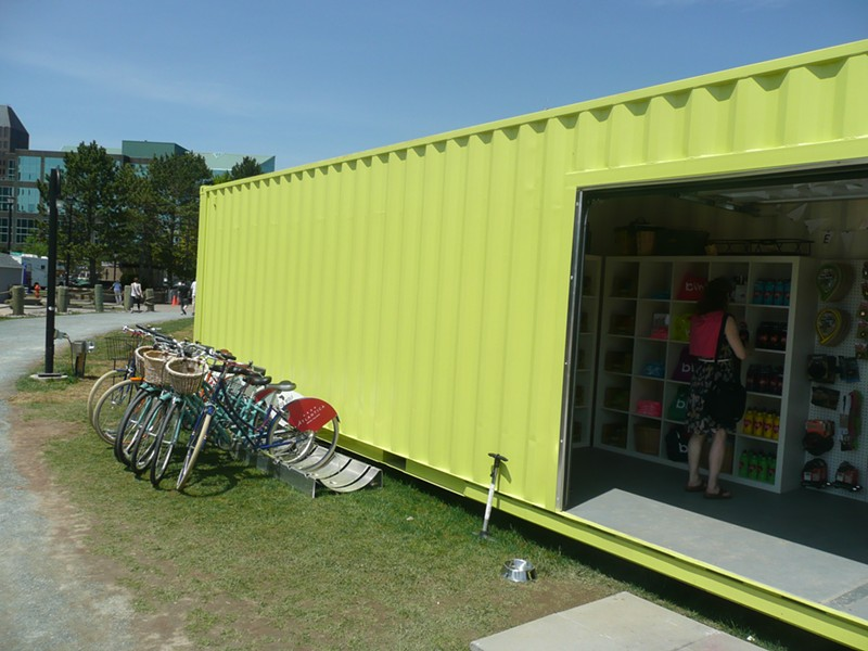 Green is the word at I Heart Bikes' new container shop