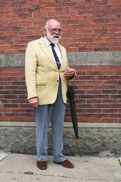 """Guy (pronounced """"Gee"""" en français) bought this lightweight corduroy blazer from Simpson's in 1959, where The Bay now stands. He would rather wear """"a good Harris tweed jacket"""" ---his staple---but it's too hot in the summer. Guy accessorizes this blazer with gold pins from his time in the navy and a McGill tie. His favourite place to shop in Halifax is the Salvation Army: """"I found a Burberry shirt there for $7 the other day!"""""""