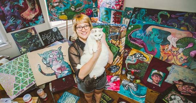 Halloway Jones and her fantastic art collection (and cat). - SCOTT BLACKBURN