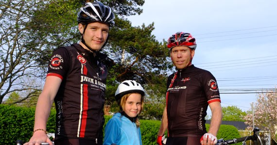 Jared Dempsey (left) and Java Blend - Racing team founder John Newgard, - making tracks with Katie Holm - CHRIS DONAHOE